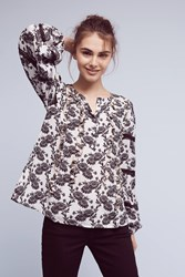 Anthropologie Patia Peasant Blouse Black Motif