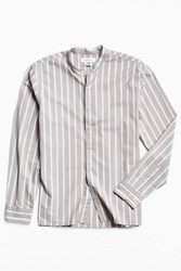 Urban Outfitters Uo Vertical Stripe Band Collar Button Down Shirt Grey