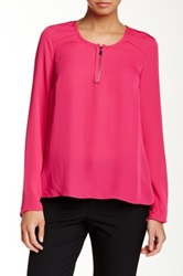 Laundry By Shelli Segal Zip Front Pleated Back Blouse Pink