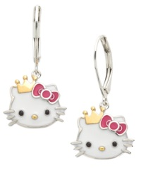 Hello Kitty Sterling Silver And 14K Gold Over Sterling Silver Earrings Princess Kitty Crown Earrings