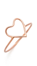 Ariel Gordon Jewelry Delicate Heart Silhouette Ring Rose Gold
