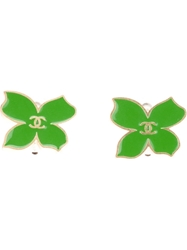Chanel Vintage Clover Clip On Earrings Green