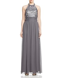 Js Collections Sequin Bodice Halter Gown Grey