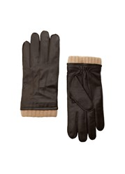 Mango Leather Wool Blend Gloves Brown