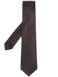 Kiton Dotted Tie Brown