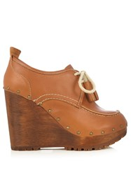 See By Chloe Lace Up Leather Wedge Shoes Brown