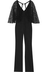 Haney Lace Paneled Silk Blend Crepe Jumpsuit Black