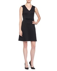 Marc New York By Andrew Marc V Neck Sleeveless Stretch Jersey Fit And Flare Dress W Embellished Waist Black