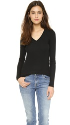 Atm Anthony Thomas Melillo Rib V Neck Tee Black