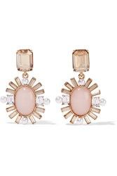 Oscar De La Renta Gold Plated Multi Stone Clip Earrings Gold Antique Rose