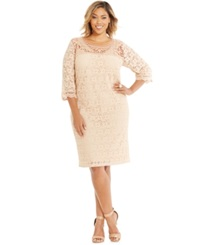 Spense Plus Size Three Quarter Sleeve Lace Dress