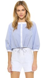Mds Stripes Contrast Placket Peasant Top Amy Stripe