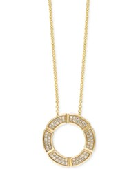 Effy Collection D'oro Effy Diamond Circle Pendant Necklace 1 4 Ct. T.W. In 14K Gold Yellow Gold