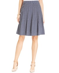 Jones New York Collection A Line Printed Knife Pleat Skirt Navy Multi