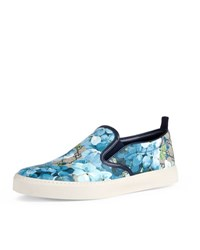 Gucci Dublin Gg Blooms Canvas Slip On Sneaker Blue Beige