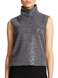 L'agence Sequined Turtleneck Pullover Charcoal