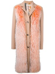 Emilio Pucci Raccoon Fur Panel Coat Pink And Purple