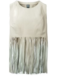 Eleventy Fringed Top Nude And Neutrals
