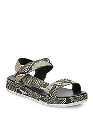 3.1 Phillip Lim Animal Printed Leather Sandals Grey