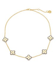 Freida Rothman Cubic Zirconia Pave 14K Gold Plated Station Necklace