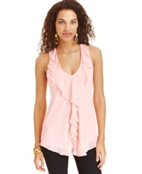 Amy Byer Bcx Juniors' Sleeveless Ruffled Lace Top Pink