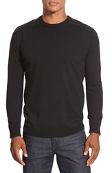 Bugatchi Merino Wool Crewneck Sweater With Elbow Patches Black