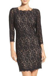 Adrianna Papell Women's Lace Overlay Sheath Dress Black Nude