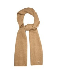 Maison Kitsune Ribbed Knit Wool And Camel Blend Scarf