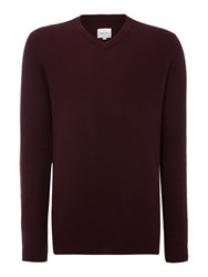 Peter Werth Men's Moore Zig Zag Knitted Cotton Jumper Burgundy