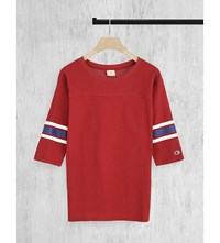 Champion Logo Embroidered Cotton Jersey Top Marron