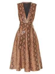 Alexander Mcqueen Snakeskin Print Leather A Line Midi Dress Brown Multi