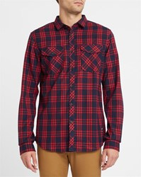 Iriedaily Dark Red Checked Old Fella Flannel Fitted Shirt