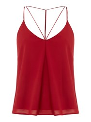Bardot Sleeveless V Neck Tank With Back Detail Top Red