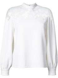 Huishan Zhang Sheer Lace Panel Blouse White