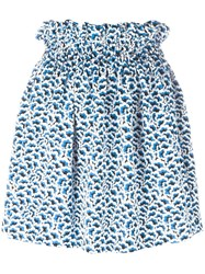 'Kenzo Popcorn' Smocked Mini Skirt Blue