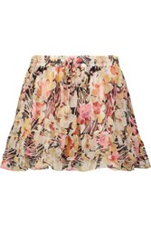 Elizabeth And James Laurel Pleated Floral Print Silk Chiffon Mini Skirt Pink