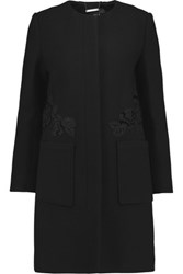 Raoul Dafne Embroidered Wool Blend Coat Black