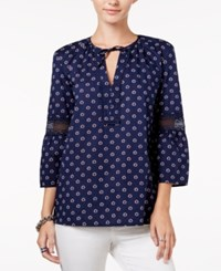 Tommy Hilfiger Daisy Printed Illusion Lace Top Peacoate Print