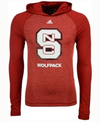 Adidas Men's North Carolina State Wolfpack Loyal Fan Climalite Hooded Long Sleeve T Shirt Red