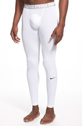 Nike Men's 'Pro Cool Compression' Four Way Stretch Dri Fit Tights White Black