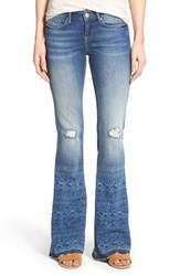 Women's Mavi Jeans 'Peace' Distressed Stretch Flare Leg Jeans Mid Laser