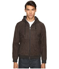 Vince Leather Zip Up Hoodie Espresso Brown Men's Sweatshirt