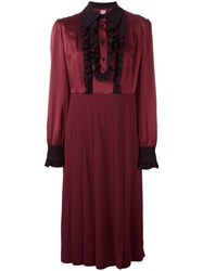 Antonio Marras Ruched Button Up Dress Red