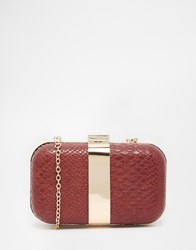 Liquorish Faux Snakeskin Box Clutch Bag Burgundy