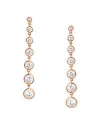 Crislu Linear Drop Earrings Rose Gold