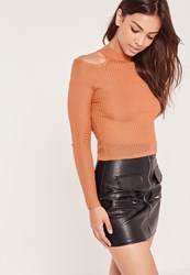 Missguided Cold Shoulder Skinny Rib Jumper Pink Peach