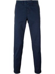 Fay Printed Chino Trousers Blue