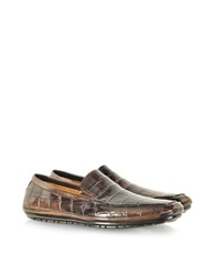 Pakerson Coffee Alligator Loafer Dark Brown
