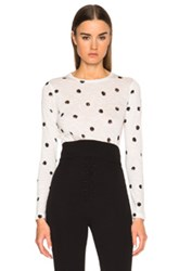 Proenza Schouler Printed Tissue Jersey Long Sleeve Tee In White Geometric Print