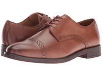 Polo Ralph Lauren Morgfield Tan Burnished Leather Men's Lace Up Cap Toe Shoes